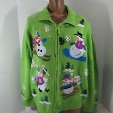 Ugly Tacky Christmas Sweater Ladies  Lime Green Zip Cardigan L Snowman