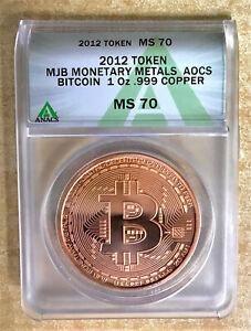 2012 MJB Monetary Metals Copper Bitcoin Art Round / AOCS Approved / ANACS Graded