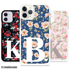 PERSONALISED CASE COVER INITIALS FLORAL HARD COVER FOR APPLE IPHONE 8 7 11 XS XR