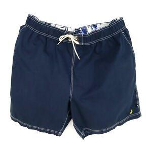 Nautica Swim Trunks Board Shorts Mens Sz 2TGL Blue Cotton Blend Drawstring Liner