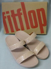 New Fitflop Lottie Chevron Slide On Oyster Pink Sandals Suede Ladies Box Size 5