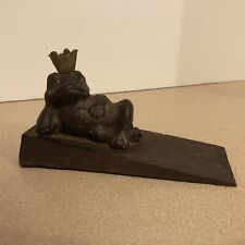 Cast Iron Door Wedge With Lounging Frog Prince Approximately 6 Inches Long,