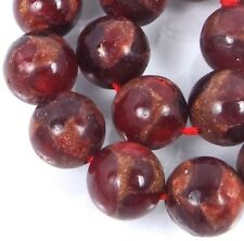 10mm Ruby in Quartz with Pyrite / Brown Vein Round Beads (20)