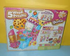 New Shopkins 5 wood Puzzles Puzzles Tray And Storage Box by Cardinal Games