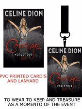 Celine Dion Courage Tour 2022 PVC LANYARD PASS VIP  LANYARD PERSONALISED
