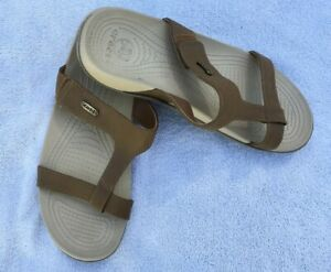 CROCS SLIDE SANDAL BROWN LEATHER UPPER WOMENS SIZE 10 * FREE SHIPPING