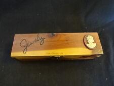 Old Vtg Wood Wooden Jewelry Box Lake Charles LA Woman Cameo Design