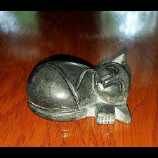 "Polished Black Stone Sleeping Cat Sculpture Figurine 3 1/4"" long"