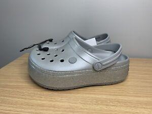 Crocs Crocband Glitter Metallic Platform Women's Size 4 Gray Glitter RARE