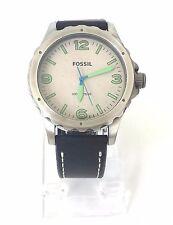 Fossil Herren Uhr schwarz weiß grün Leder rund JR1461 Neu OVP