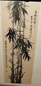 OLD CHINESE BAMBOO ORIGINAL WATERCOLOR PAINTING SIGNED