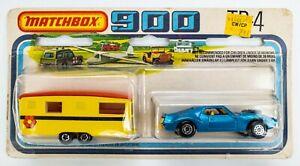 1976 Matchbox 900 TP-4 Holiday Set AMX Javelin BLUE / Eccles Caravan YELLOW