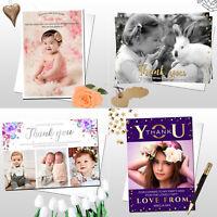 10 Personalised Christmas Birthday Christening Boy Girl Thank You Cards Photo
