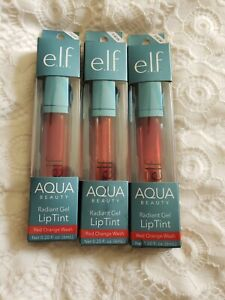 3 e.l.f. Aqua Beauty Radiant Gel Lip Tint Red Orange Wash~Vegan & Cruelty Free