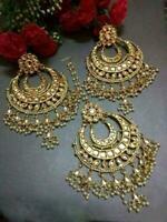 Indian White Kundan Pearl Maangtika Earrings Bollywood Wedding Women Jewellery