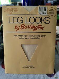 vntg LEG LOOKS by Burlington Pantyhose SZ Long/Sandalfoot/Off White