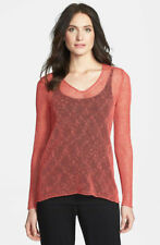 NWT EILEEN FISHER Soft V-Neck Mesh Open Knit Top in Sunset (Pink) $198 - M