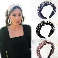 Women's Tie Headband Hairband Knot Wide Pearl Wide Hair Hoop Bands Accessories