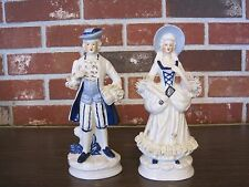 """VINTAGE BLUE AND WHITE CERAMIC / PORCELAIN MAN AND WOMAN 8"""" TALL FIGURINES"""