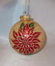 "Poinsettia Flowers Christmas Ornament Gold Glittery Stony Creek New 3.25"" Ball"