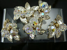 VERIFIED JULIANA CLUSTER FACETED AB DANGLES & RHINESTONES PIN BROOCH EARRING SET