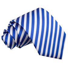 DQT Woven Thin Stripe White Royal Blue Formal Casual Mens Classic Tie