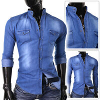 Light Mens Denim Shirt  Blue Jeans Slim Fit Grandad Collar Mandarine Cotton