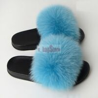 2019 Women Fluffy Real Fox/Raccoon Fur Slides Slipper Outdoor Flat Shoes Sandals