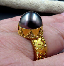 GORGEOUS SOLID 22K GOLD GRANULATION AAA COOK ISLANDS BLACK CULTURED PEARL RING 8