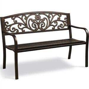 Outdoor Patio Bench Metal Bench Chair Garden Furniture for Park/Yard/Porch/Deck