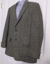 Harris Tweed Brown Herringbone Scottish Wool Leather Button Sport Coat Large 42L