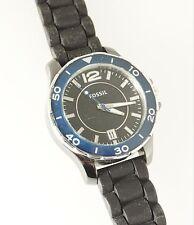 Fossil Women's Riley Ceramic Case CE1036 Watch Black Blue Analog Dial