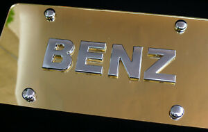 Mercedes Benz Gold Mirrored License Plate Tag with Chrome Emblem Badge