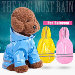 Pet Dog Rain Coat Hoody Waterproof Jacket PU Raincoat Cat's Apparel Clothes