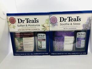 2 Dr Teal's Epsom Salt Foaming Bath Oil Gift Set Shea Butter & Lavender