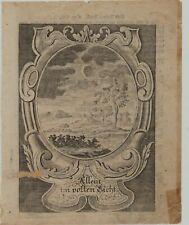 MONDFINSTERNIS Mond Original Ornament Kupferstich um 1750 Rollwerk Astronomie