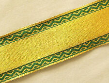 Jacquard, Ribbon Trim. Metallic Gold with Green Edges