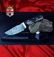 Damascus skinning knife, 062 Skinner KingForge, hunting bush knife carving gift