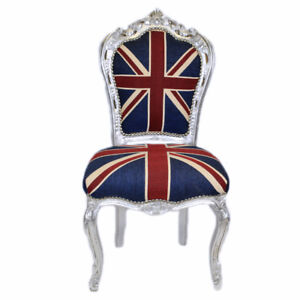 CHAIRS - FRANCE BAROQUE STYLE DINING ROYAL CHAIR SILVER / UNION JACK #60ST5