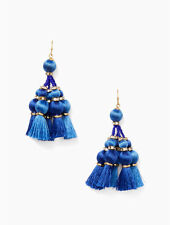 Kate Spade Pretty Poms Small Tassel Dangle Earrings Sumac Blue Pouch