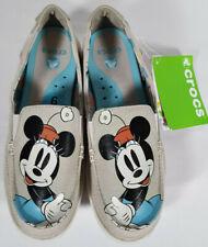 Minnie Mouse Disney Slip On Khaki Stucco Canvas Loafer Walu Crocs Size 6
