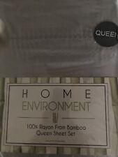Home Environment Bamboo Rayon 4pc Sheet Set, Silky Soft, Silver Pearl Hem Stitch
