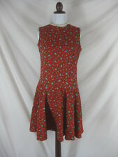 Vtg 50s 60s Miss Q Red Floral Corduroy Vintage Mod Mini Dress W 34