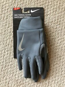 NWT NIKE UNISEX GRAY THERMAL GLOVES MEDIUM THERMA-FIT