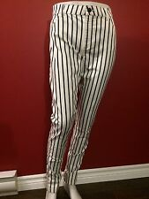 MNG Basics Women's Black/White Striped Slim Trouser Pants - Size 12 - NWT $60