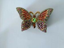 Amazing collectible trinket jewel box rhinestones butterfly enamel ornate gift!