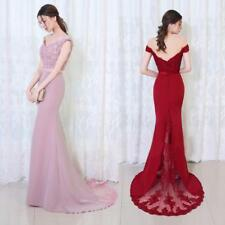 Mermaid Wine Red Long Evening Dress Party Elegant Off The Shoulder Prom Gown,
