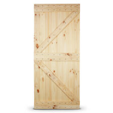 36in x 84in Sliding Barn Natural Wood Door Unfinished Knotty Pine Single Door