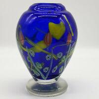 Cobalt blue floral hand blown heavy studio art glass vase