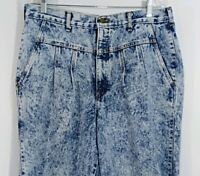 Chic Vintage 80s High Waist Pleated Acid Wash Denim Mom Jeans Women's Size 20
